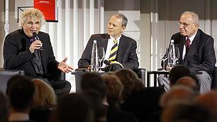 (v. l.) Prof. Christoph Adt, Henning Krumrey und Prof. Rodenstock beim Eröffnungstalk