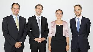 Dr. Ekkehard Köhler, Dr. Julian F. Müller, Prof. Dr. Isabel Schnabel und Dr. Friedrich von Schönfeld (von links)