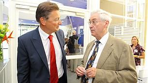 Hartmut Geldmacher, Aufsichtsratsvorsitzender der Rhein-Main-Donau AG, im Gespräch mit Prof. Karl Homann