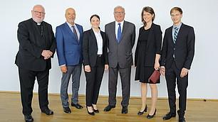 Kardinal Marx, vbw-Präsident Wolfram Hatz, Preisträger und Gastgeber Randolf Rodenstock