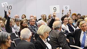 Voting der Zuschauer über die ScienceSlam-Vorträge